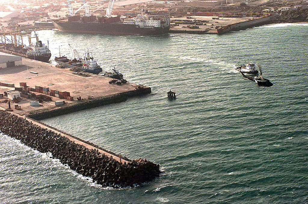 Aerial view of the port of Mogadishu