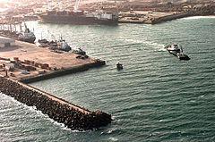 Vista aerea del porto di Mogadiscio