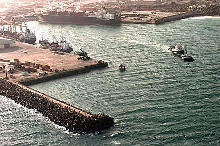 The Port of Mogadishu serves as a major national seaport. Aerial view of the port of Mogadishu.JPEG