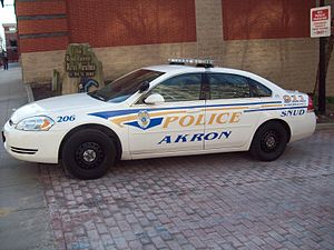 Police vehicles in the United States and Canada - An Akron, Ohio police cruiser