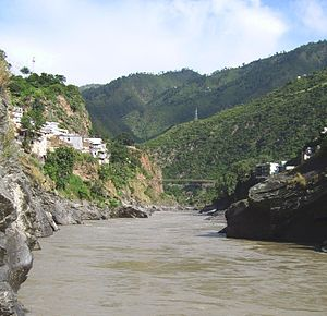 none The sediment-laden Alaknanda river flowing into Devprayag, Uttarakhand.
