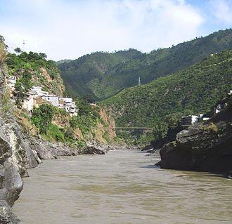 Alaknanda River - The sediment-laden Alaknanda river flowing into Devprayag, Uttarakhand.