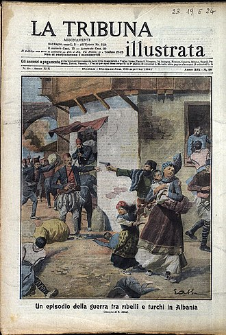Albanian revolt of 1911 - Depiction of the revolt by The Illustrated Tribute (April, 1911)