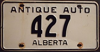 Antique car - First issue Alberta Antique Auto license plate. First issued from 1963 until 1975