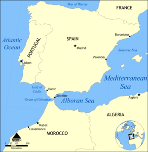 Gulf of Cádiz - Map showing the Gulf of Cádiz and surrounding area.