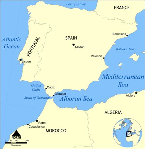 Lagekarte Alboran-Meer