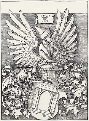 Albrecht Dürer - Woodcut by Dürer of his coat of arms, which featured a door as a pun on his name, as well as the winged bust of a Moor