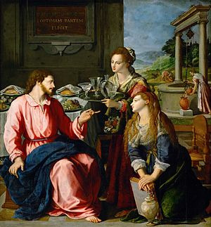 Alessandro Allori - Christ with Mary and Martha, oil on wood, 125 x 118 cm Kunsthistorisches Museum