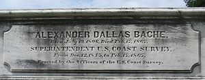 Alexander Dallas Bache Monument - The memorial plaque of the monument