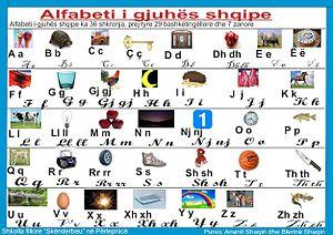 Albanian alphabet - Image: Alfabeti i gjuhes shqipe
