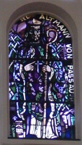 Altmann, Bishop of Passau - Portrait in stained glass, Church Liesing