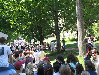St. Paul's School (Concord, New Hampshire) - The 2005 Alumni Parade (see below) from all the way in the back.