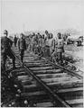 American Negro battalion building railroad. American Negro soldiers building a railroad in France. - NARA - 533603.tif