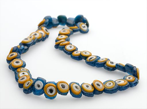Amulet necklace, glass beads ressembling eyes, Palestine. Wellcome L0057067
