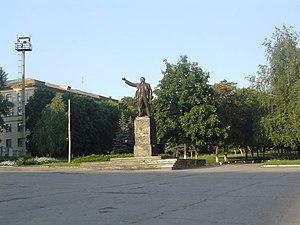 Amvrosiivka - Lenin statue in Amvrosiivka, 2008