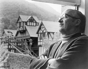 Oregon Shakespeare Festival - Angus Bowmer and the outdoor theatre, the keystone of the Oregon Shakespeare Festival he created.
