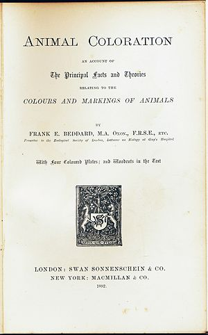 Animal Coloration (book) -  Title page of first edition, 1892