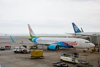Auckland Airport - An Air Vanuatu Boeing 737-800 at the gate at Auckland Airport