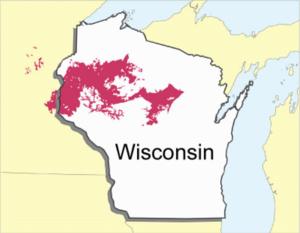 Antigo (soil) - Distribution of Antigo soils in Wisconsin and Minnesota