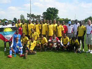 Antigua and Barbuda national football team - The Antigua and Barbuda national football team in Bungay, Suffolk, England on May 24th, 2008 after scrimmages against English lower division side Lowestoft Town.