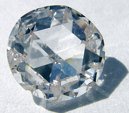 Colorless gem cut from diamond grown by chemical vapor deposition Apollo synthetic diamond.jpg