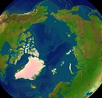 Satellite image of the Arctic surface.