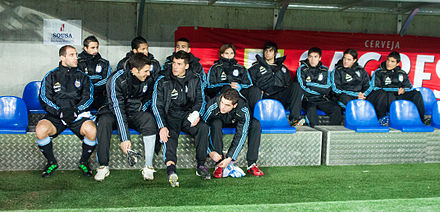 The substitute bench of the national team of Argentina. Argentina substitute bench - Portugal vs. Argentina, 9th February 2011 (1).jpg