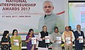 Arun Jaitley releasing the publication at the presentation of the National Entrepreneurship Awards 2017, on the occasion of the 3rd Foundation Day of MSDE, in New Delhi.jpg