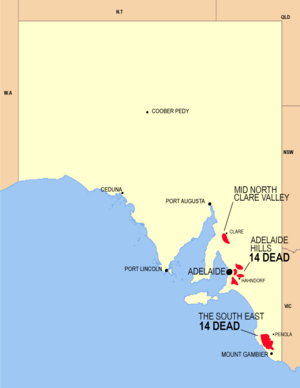 Map of fire affected areas in South Australia