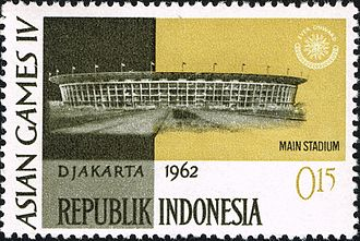 1962 Asian Games - Gelora Bung Karno Stadium on a 1962 stamp of Indonesia
