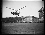 Autogiro lands near U.S. Treasury, Washington, D.C. Oct. 2. A new type autogiro thousands of city folks may be parking in the yards or on the roofs of apartment houses in is shown about to LCCN2016878611.jpg