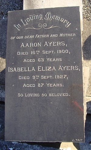 Aaron Ayers - The headstone of Aaron and Isabella Eliza Ayers at Linwood Cemetery