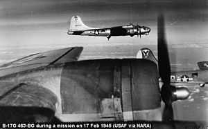 463d Operations Group - B-17s of the 463d Bomb Group in formation Douglas/Long Beach B-17G-60-DL Flying Fortress 44-46700 identifiable.