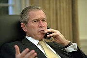 Bush talks with South Korean President days after the 9/11 attacks.