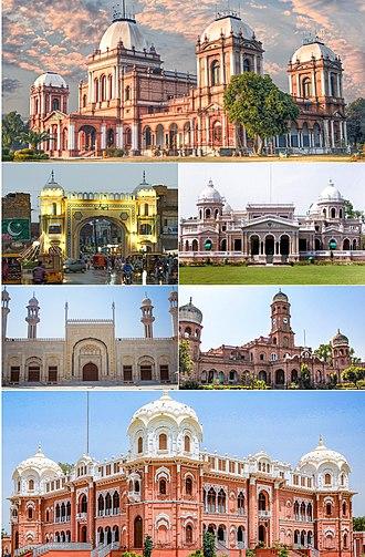 Bahawalpur - Clockwise from top: Noor Mahal Palace,Gulzar Mahal, Sadiq Dane High School, Darbar Mahal Palace, Sadiq Mosque, Fareed Gate