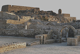 The Portuguese Fort of Barem, built by the Portuguese Empire while it ruled Bahrain from 1521 to 1602. Bahrain Fort overview.jpg