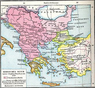 Serbs of Bosnia and Herzegovina - Balkans in 1350 according to German historian Gustav Droysen from the 19th century. Serbian Empire at its height, including the region of Bosnia.