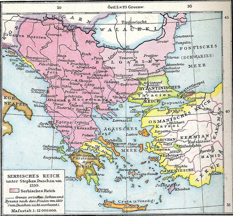 Balkans in 1350 according to Gustav Droysen from 19th century