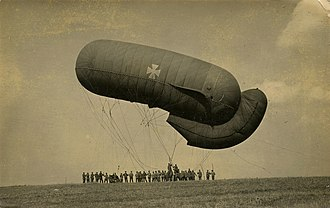 "Observation balloon - German Parseval-Siegsfeld type balloon at Équancourt (September 1916). The rear ""tail"" fills with air automatically through an opening facing the wind."