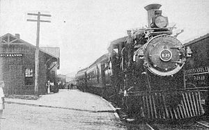 "Buckhannon, West Virginia - Baltimore and Ohio Railroad ""Blue Goose"" in Buckhannon, 1914"
