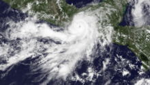 A visible satellite image of a well-formed hurricane approaching the coastline of southeastern Mexico on May 29.