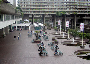 Barbican Estate - The central public court of the Barbican, Lakeside Terrace, features a café area.