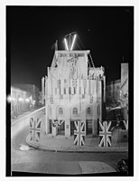 Barclay's Bank building covered with Br. (i.e. British) flags, 1945? LOC matpc.13590.jpg