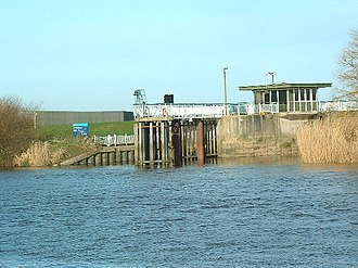 River Derwent, Yorkshire - Barmby on the Marsh Tidal Barrage at the mouth of the River Derwent