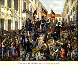 Nationalism - Revolutionaries in Vienna with German tricolor flags, May 1848