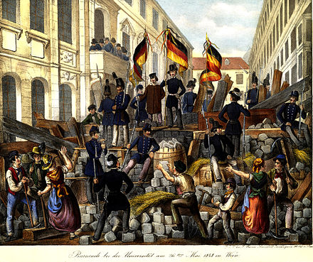 The revolutionary barricades in Vienna in May 1848 Barricade bei der Universität am 26ten Mai 1848 in Wien.jpg