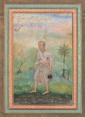Jain Ascetic Walking Along a Riverbank