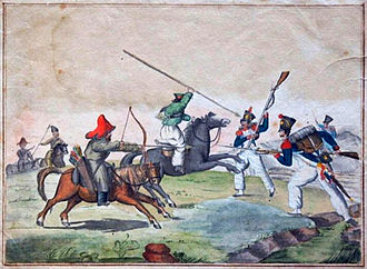 Battle of Leipzig - French soldiers in skirmish with Bashkirs and Cossacks.