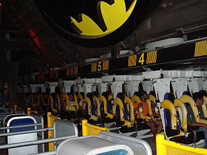Batman: The Ride - A train waiting to depart the station at Six Flags Magic Mountain