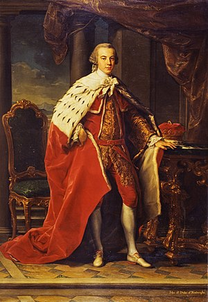 Robes of the British peerage - John Ker, 3rd Duke of Roxburghe, wearing coronation robes